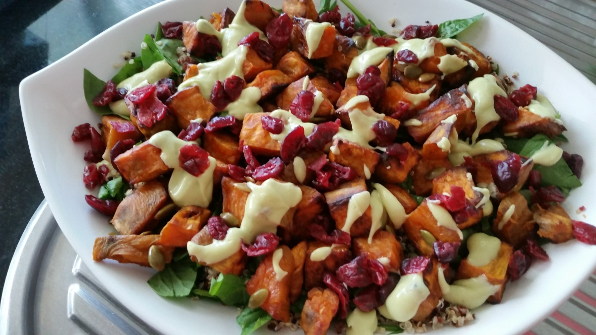 Sweet potato, quinoa and cranberry salad